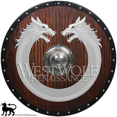 Red Oak Viking Wolf Ring Shield --- sca/larp/norse/fenrir/warrior/wooden/armor
