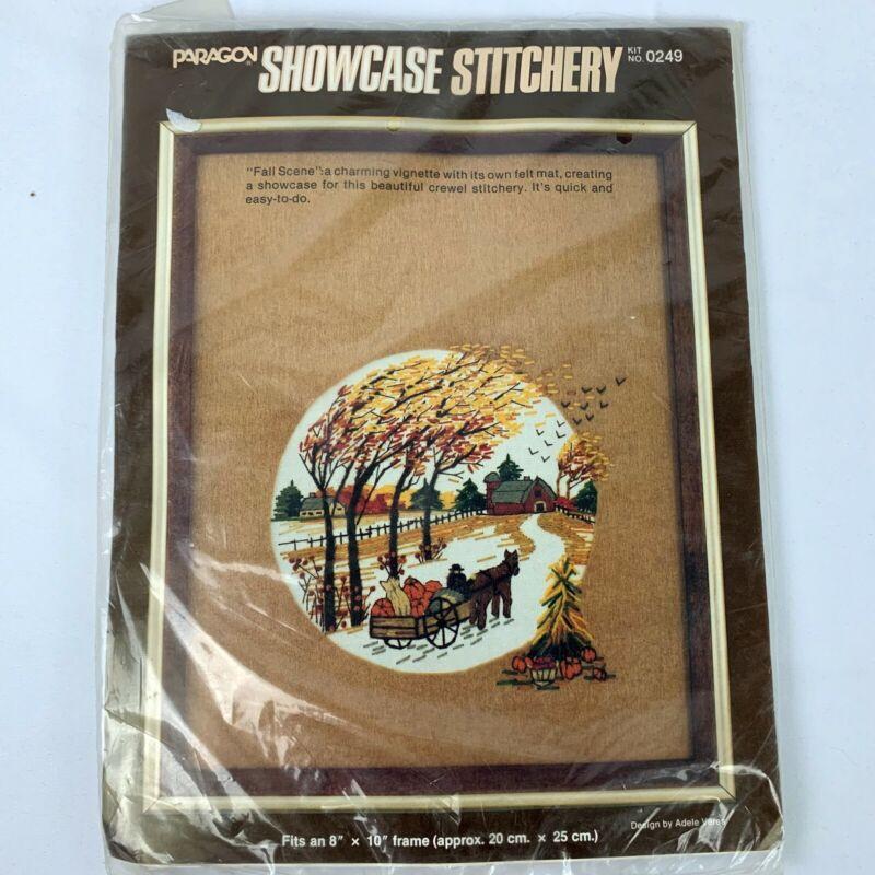 Paragon Fall Scene Crewel Stitchery Embroidery 1983 Rare New Kit 0249 Vintage