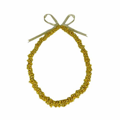 Hawaiian Yellow Mongo Shell Lei Necklace Vintage Wedding Graduation Celebration