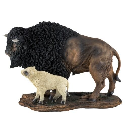 "Bison Buffalo With Sacred White Baby Calf Figurine Statue 8.25"" Long Resin New"