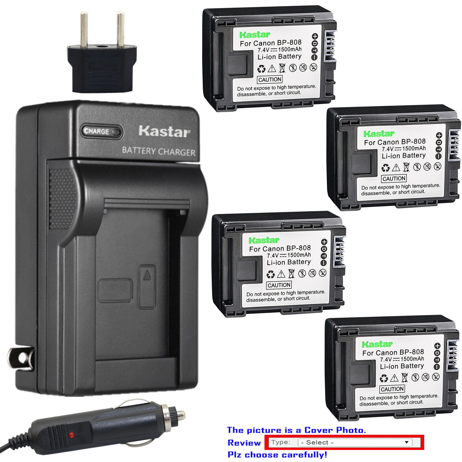 Kastar Battery AC Charger for Canon BP-808 CG-800 & Canon FS