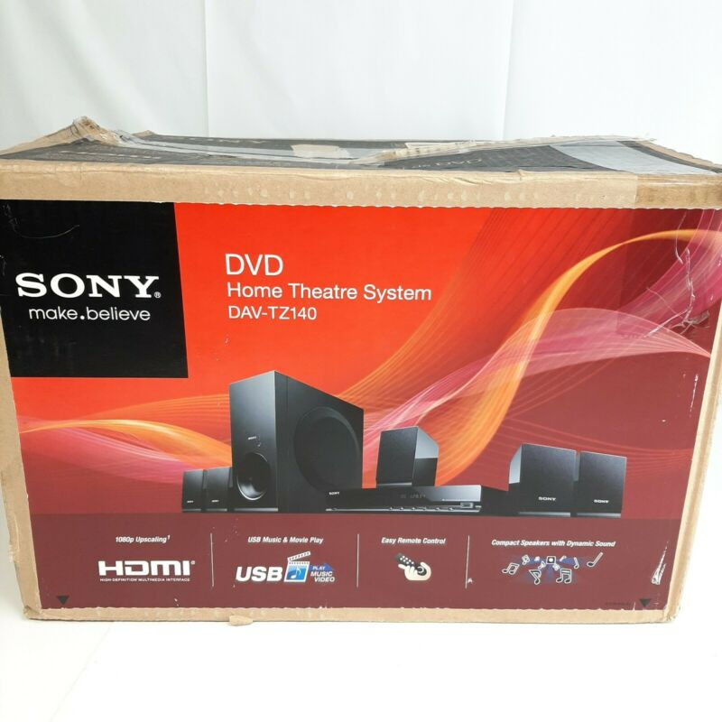 Sony DAV-TZ140 5.1 DVD Home Theater System USB HDMI remote control Open Box