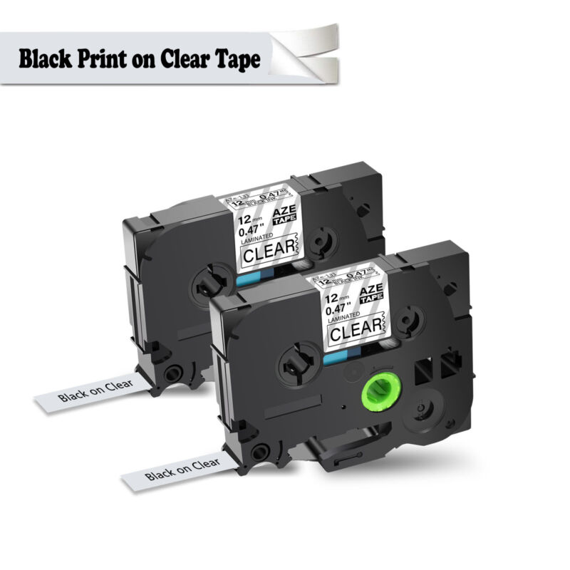 2PK For Brother P-Touch PT-1010 Black on Clear Label Tape 1/2