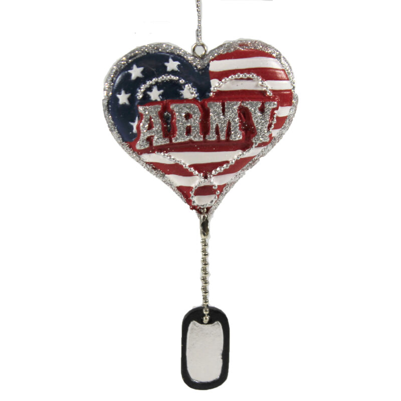 Holiday Ornament Military Heart Polyresin Service Dog Tag 102006 Army