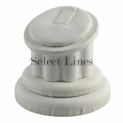 White Faux Leather Ring Column Stand Jewelry Display