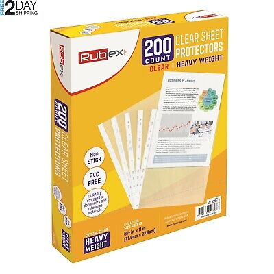 200 Rubex Clear Heavyweight Sheet Protectors Holds 8.5 X 11 Inch Sheets