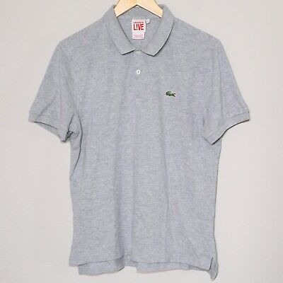 LACOSTE L!VE Light Gray Classic Golf Polo Shirt Mens Size FR 5 Fits US Medium 🔥