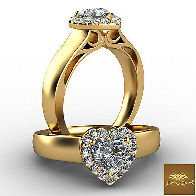 Filigree Shank Halo Heart Cut Diamond Engagement Prong Set Ring GIA F VS1 0.70Ct