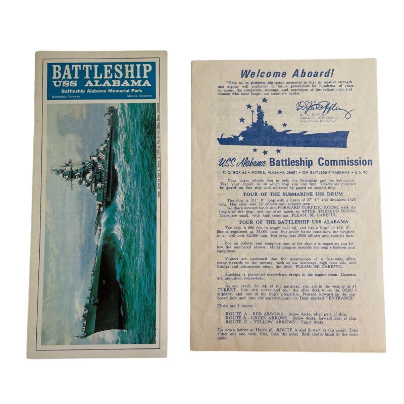 1970 Battleship USS Alabama Memorial Park Vintage Pamphlet and Tour Map