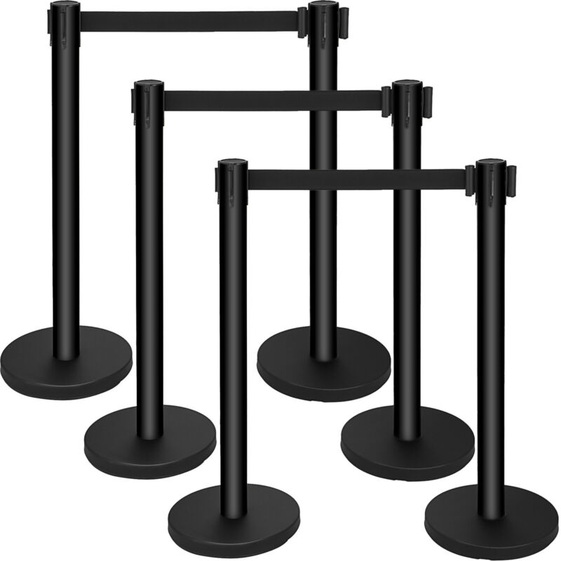 6Pcs Queue Barrier Posts Stainless Steel Poles Retractable Black Belt