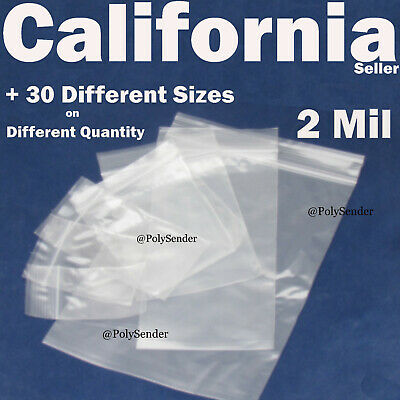 Clear 2 Mil Bags Reclosable Zip Poly Plastic Reusable Jewelry Retail Lock Able