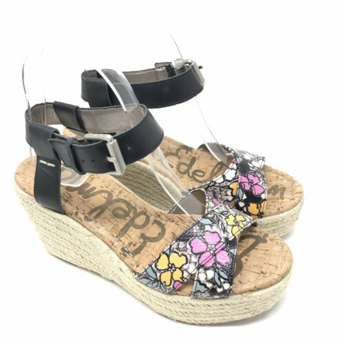 Sam Edelman Shoes Size 9 Womens Black Floral Destin Wedge Es