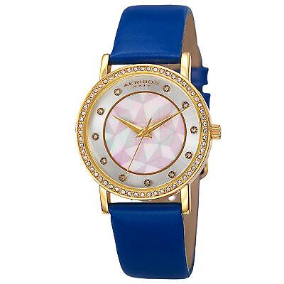 New Women's Akribos XXIV AK791BU Crystal Bezel MOP Pattern Dial Blue Strap Watch