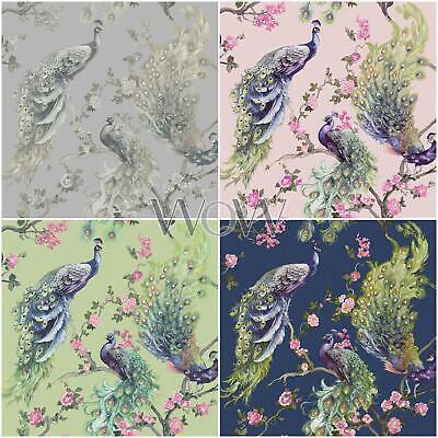 Holden Menali Peacock Glitter Wallpaper - Floral Birds - Grey, Pink, Green, Blue