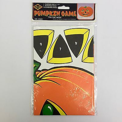 Beistle Pumpkin Game  Pin The Nose Vintage 1976 Blindfold Included Sealed 01877