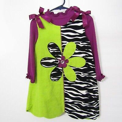 Bonnie Jean Girls Jumper Dress Size 4 Green Purple Zebra 2 pc Set Long Sleeve