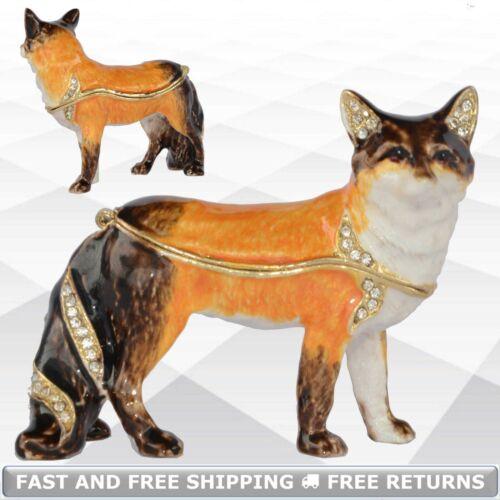 Fox Animal Enamel Bejeweled Trinket Jewelry Box With Hinged Lid Pill Ring Casket