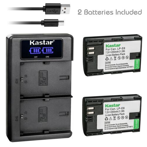 Kastar 2 LP-E6 Battery + Charger for Canon EOS R 5D Mark II III IV 80D 70D 6D 7D