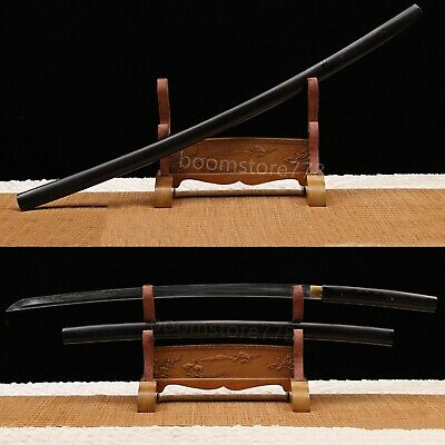 Black ebony Horn Handmade T10 Steel Clay Tempered Japanese Samurai Sword Sharp