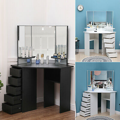Modern Corner Dressing Table Set  w/3 Large Mirror&5 Drawers Makeup Desk Dresser
