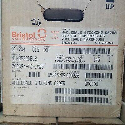 Bristol Compressor N1nb922dblb 230-200-3-60 9200 Btu Compressor