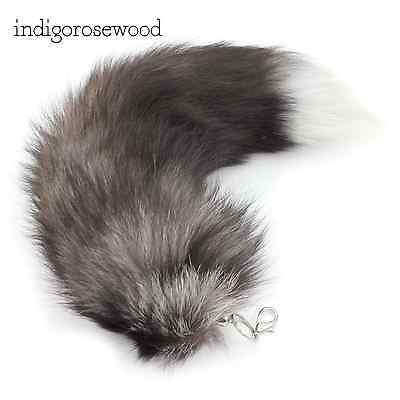 Kitty Cat Silver Fox Faux Fur Furry Cosplay Tail Costume Kawaii Black White