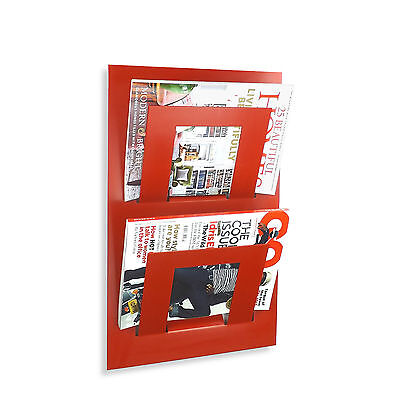 Designer Double Wall Mounted Magazine Newspaper Rack Red