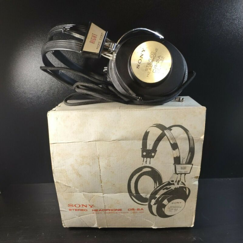 Vintage Sony DR-5A Stereo Headphones Adjustable w/ original box