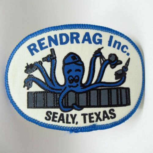 """Vintage Patch - Rendrag Inc - Octopus On Barge Holding Boat & Crane & Tools - 4"""""""