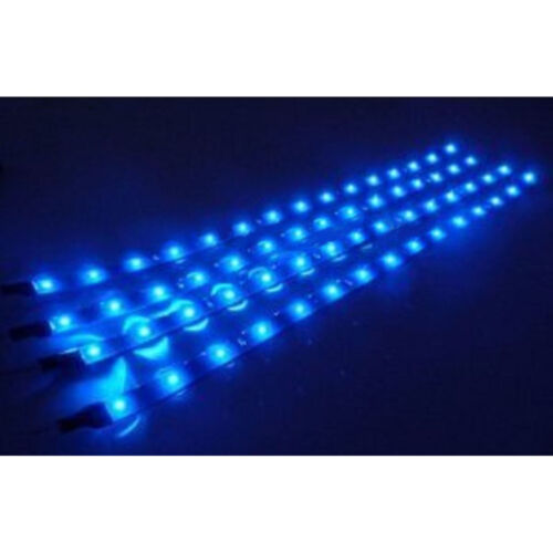 "4Pc 12"" Motorcycle 15 Blue LED Under Glow Frame Engine Motor Light Bulb Strips"