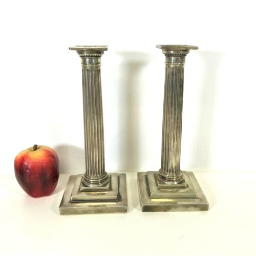 "Tall pair of 9.5"" Gorham Sterling Corinthian Columns Candle Sticks"