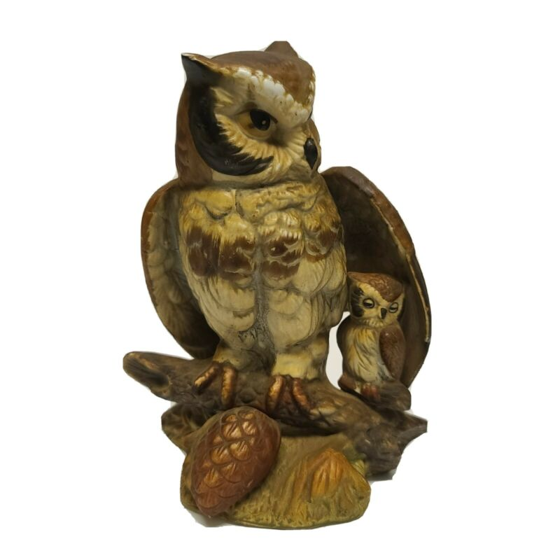 Vintage UCGC Momma Owl and Baby on Branch Figurine Brown