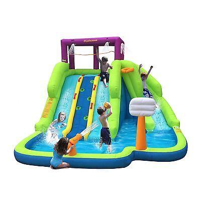 Blast Water Slide (Kahuna 90360 Triple Blast Outdoor Inflatable Splash Pool Backyard Water Slide )