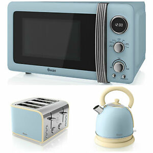 Swan kitchen retro set blue microwave 1 8l dome kettle for Kitchen set kettle toaster microwave