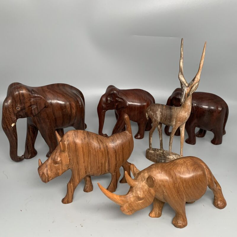 "Vintage Hand Carved Rhino Elephants Gazelle Boar Lot Exotic Woods Lot 3-8"" Tall"