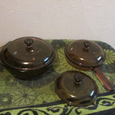 SOLD INDIVIDUALLY. PYREX AMBER VISION DISHES. CASSEROLE, FRYING PAN, (Individual Casserole Lid)