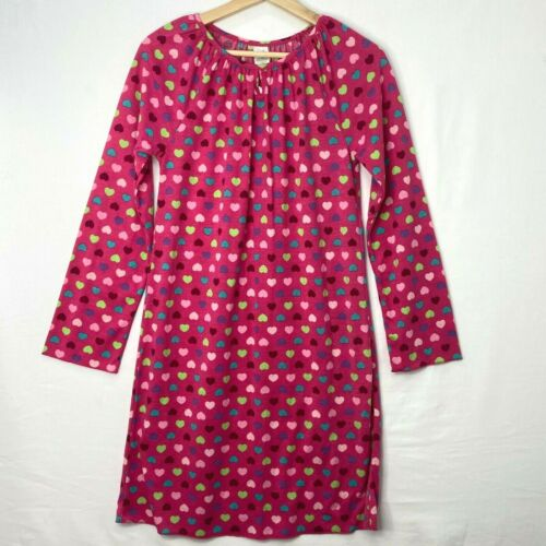 Gap Kids Girls Size 14 Nightgown Bright Pink Multi Color Hearts Long Sleeves