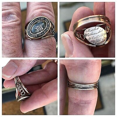 Spectacular Antique Georgian 1809 Mourning Ring With Inscriptions