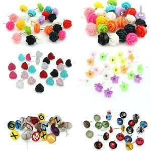 Mixed-12pairs-Enamel-Resin-Letter-Heart-Flower-Rose-Stud-Earrings-Display-Pad