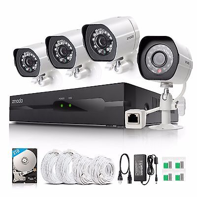 Zmodo 1080P IP Network 4CH NVR sPoE IR Security Surveillance Camera System 2TB