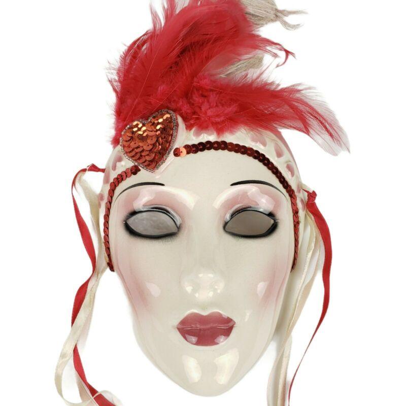 CLAY ART 1990 Vintage Ceramic Face Mask Woman Dancer Feathers Sequins VTG 90