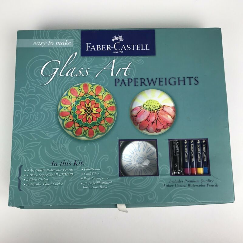 DIY Paperweight Kit - Faber-Castell Glass Art Paper Weights DENTED BOX, Complete