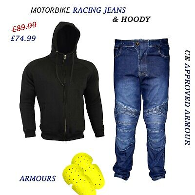 Mens Motorcycle Fleece Armored Hoodie Plain Touring Jeans Best For Riding