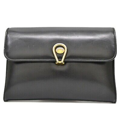 Authentic Gucci Leather Second Clutch Bag Case Black Gold Vintage