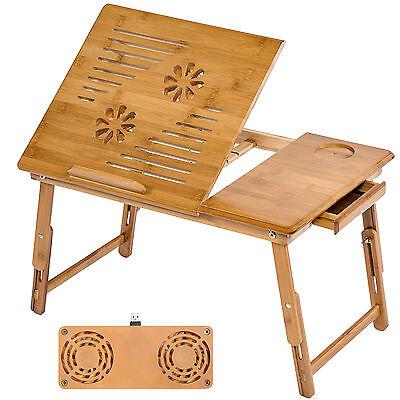 Table de lit pliable pour PC portable notebook tablet bambou + USB ventilateur