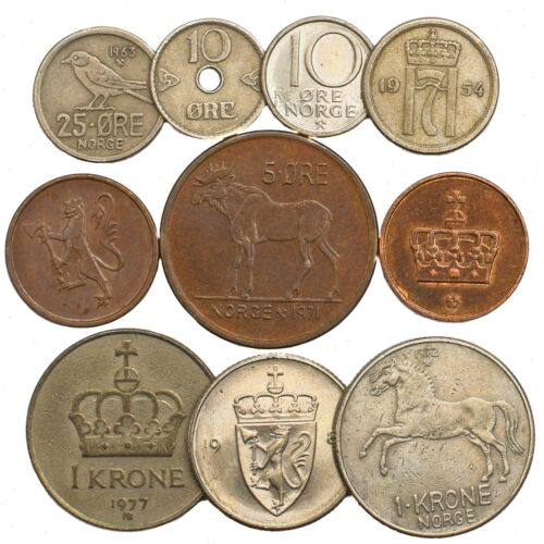 10 NORWAY COINS NORWEGIAN ORE KRONER SCANDINAVIAN OLD COLLECTIBLE COINS