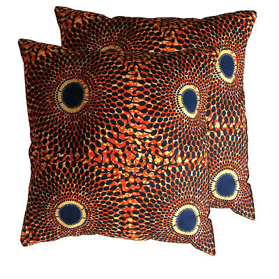 "16"" African Wax Print Ankara Throw Pillow Sofa Couch Pillow Complete Pillow"