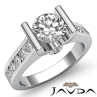 Bar Setting Round Diamond Women's Engagement Ring GIA H VS2 Platinum 950 1.5 ct