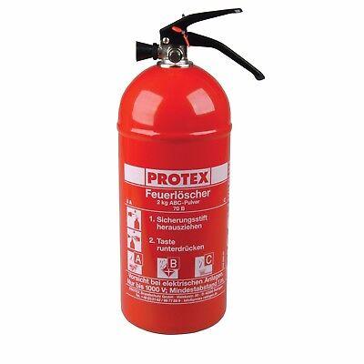 Pulver Erste Hilfe (Feuerlöscher Protex 2kg inkl. Halterung Auto Camping Erste Hilfe Klasse A B C)