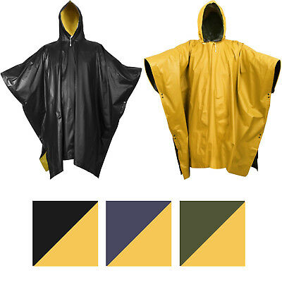 Yellow Rain Poncho (Reversible Waterproof Rain Poncho High Visibility PVC Thick Outdoor Hood &)